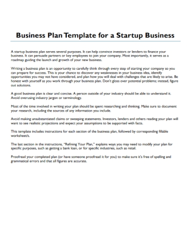 company startup business plan