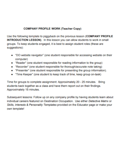 company work profile assignment