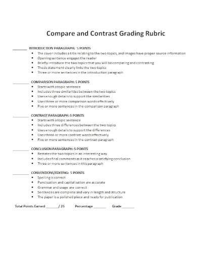compare and contrast grading thesis statement