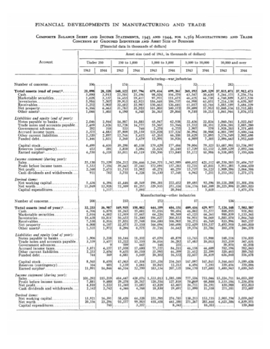 composite balance sheet and income statement