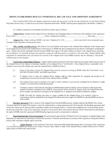 conditional bill of sales adoption agreement