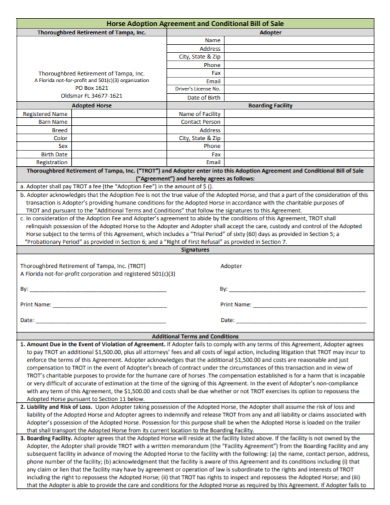 conditional bill of sales agreements