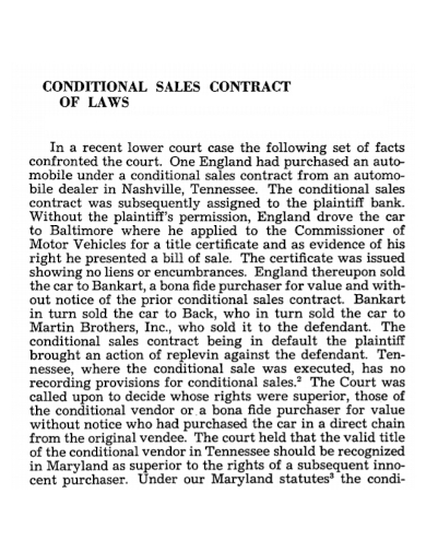 conditional car sales contract
