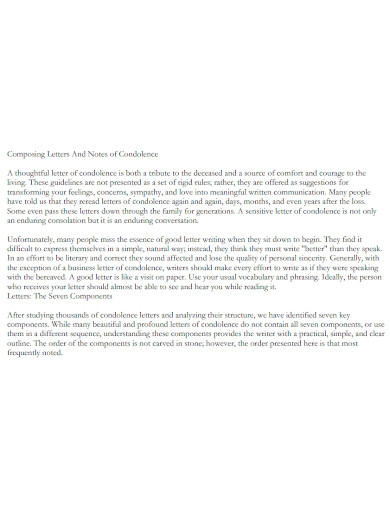 condolence note and letter