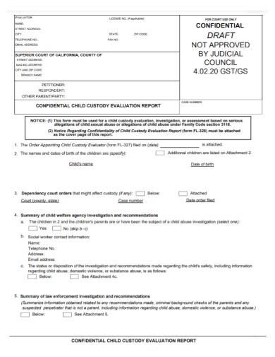 confidential child custody evaluation report