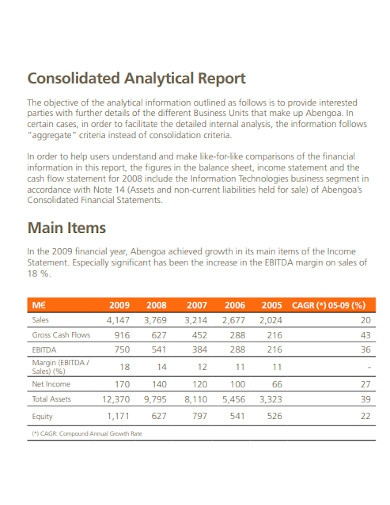 consolidated analytical report