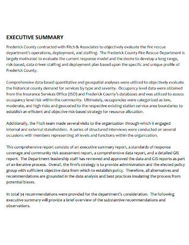 consultant executive summary report
