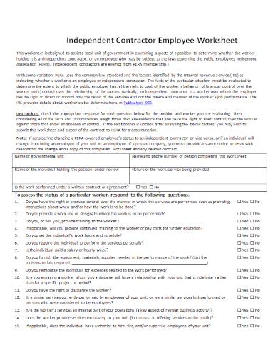 contractor employee status change worksheet