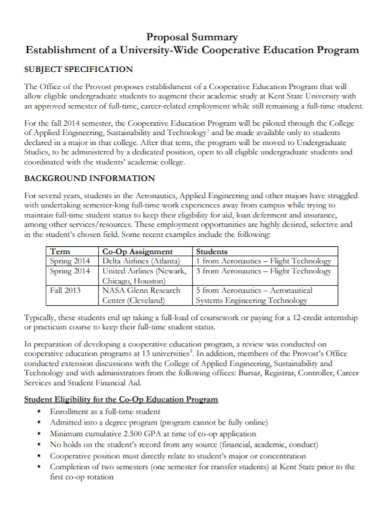cooperative education program proposal