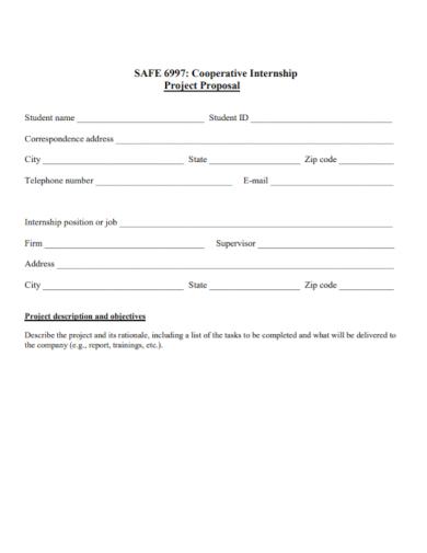cooperative internship project proposal