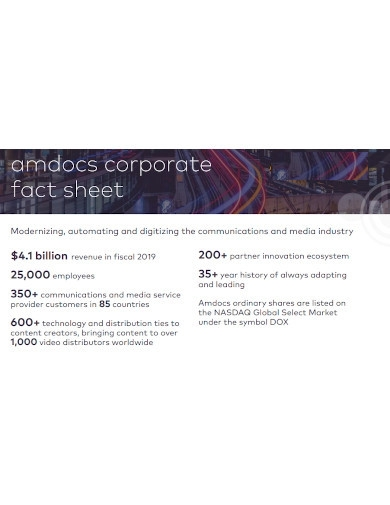 corporate fact sheet formats