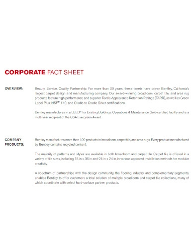 corporate fact sheet overview