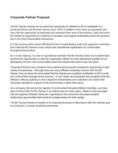 corporate partnership proposal