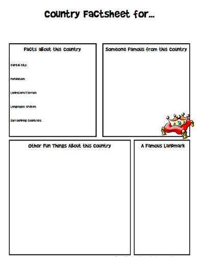 country fact sheet worksheet