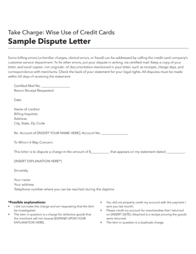 credit card dispute letter
