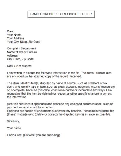 credit report dispute letter