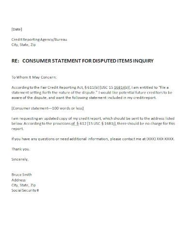 credit reporting inquiry dispute letter