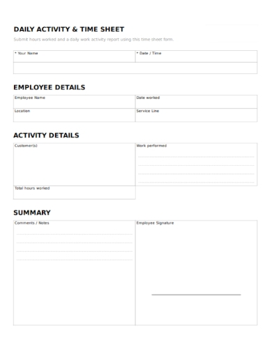 daily activity time sheet report