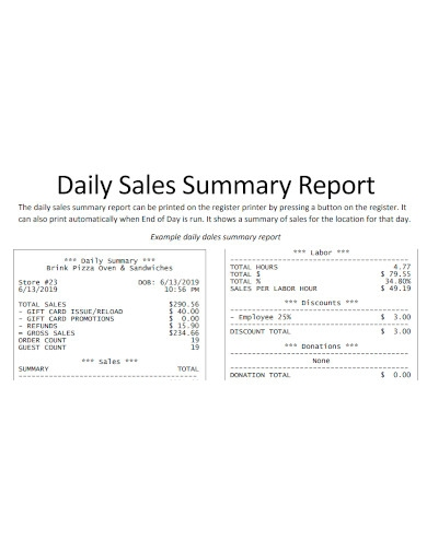 daily sales summary report