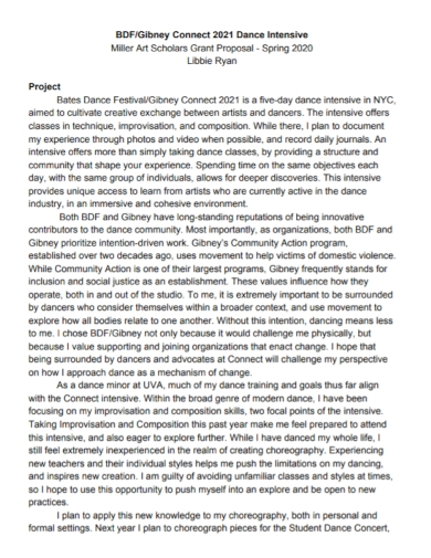 dance art project grant proposal