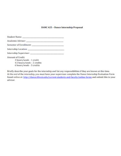 dance internship proposal