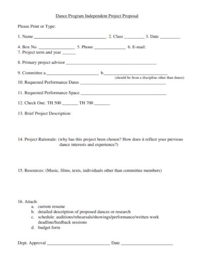 dance program independent project proposal sample
