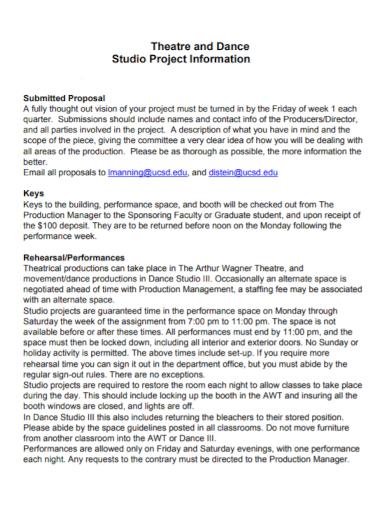 dance studio project proposal