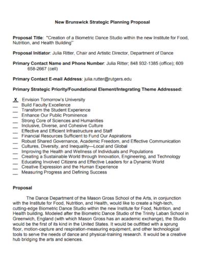 dance studio strategic planning proposal