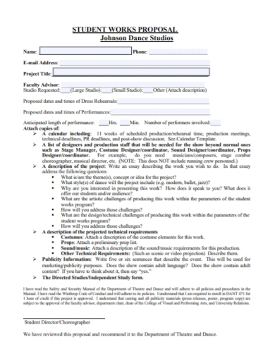 dance studio student work proposal