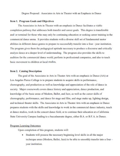 dance studio theater degree proposal