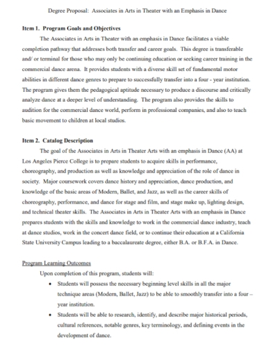 degree arts dance proposal