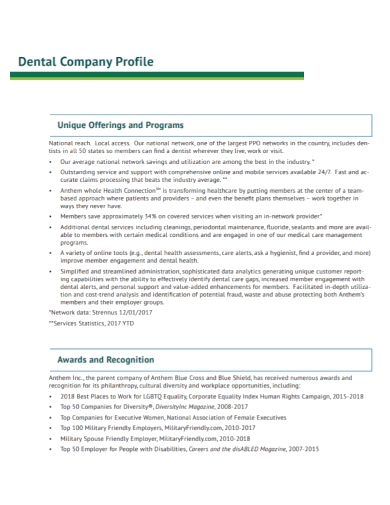 dental company profile analysis