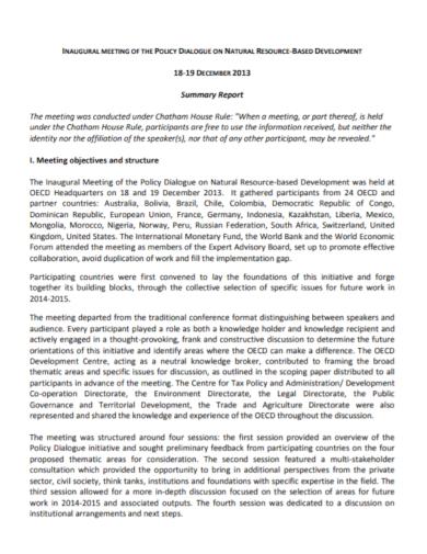 development meeting policy summary report