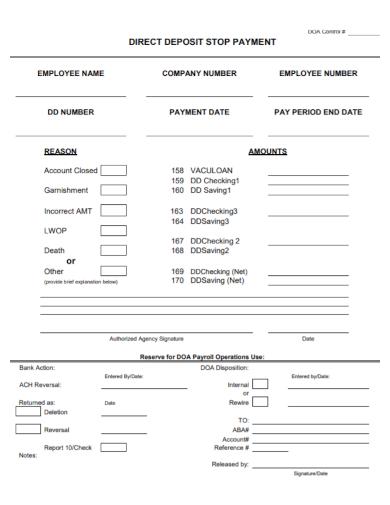 direct deposit stop payment form