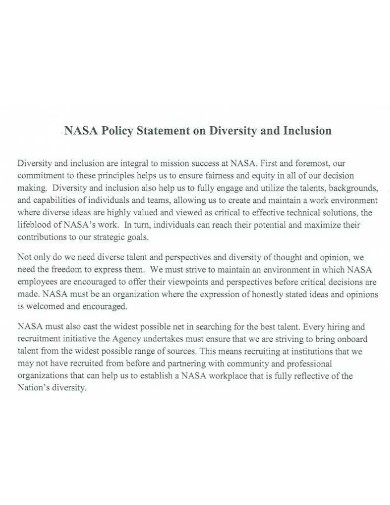 diversity and inclusion policy statement