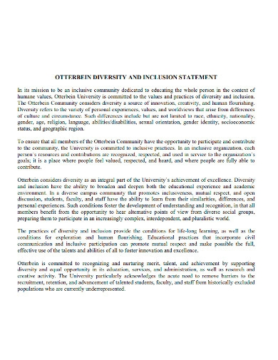 diversity and inclusion statement
