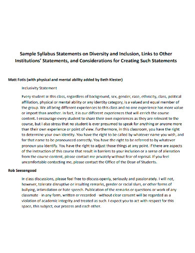 diversity and inclusion syllabus statement