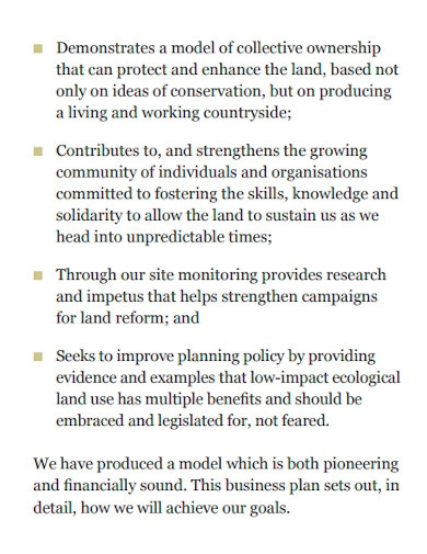 ecological and co operative business plan