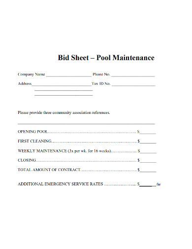 editable cleaning bid sheet