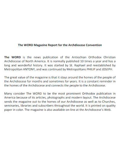 editable magazine report