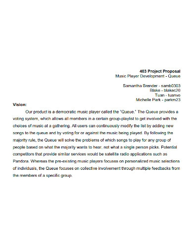editable music project proposal