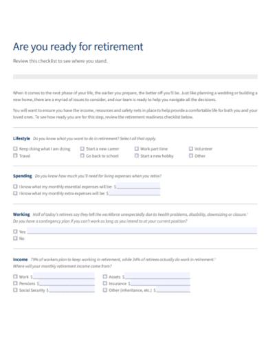 editable retirement income checklist
