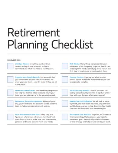 editable retirement planning checklist