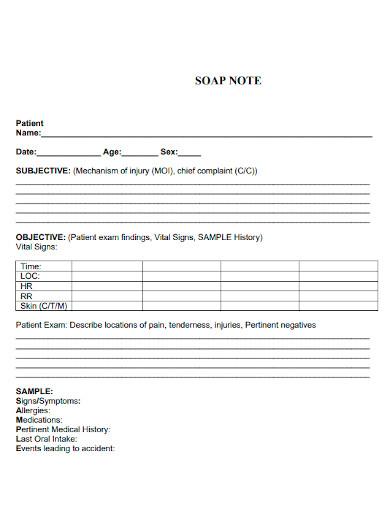 editable soap note