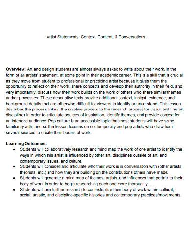 editable student artist statement