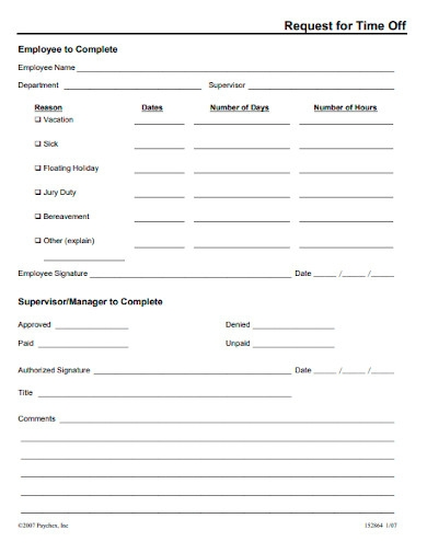 editable time off request forms