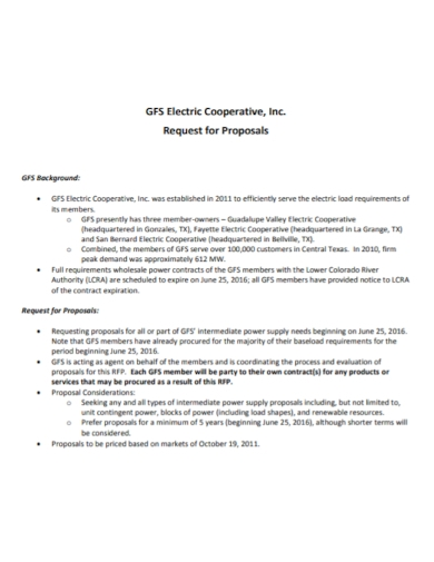 electric cooperative request for proposal