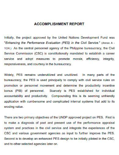 employee accomplishment report sample