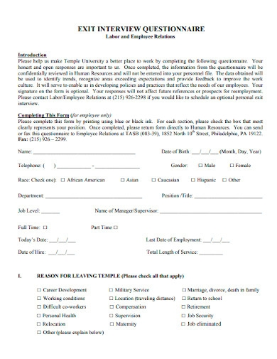 employee exit interview questionnaires