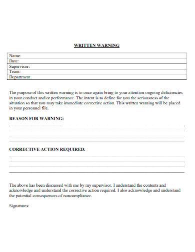 employee first written warning